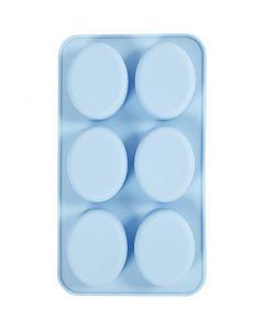 Silikonformer, H: 2,5 cm, L: 28 cm, B: 16 cm, hullstr. 7,8 x 6,1 cm, 100 ml, lys blå, 1 stk.