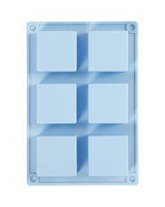Silikonformer, H: 2,5 cm, L: 21,5 cm, B: 14,5 cm, hullstr. 5 x 5  cm, 60 ml, lys blå, 1 stk.