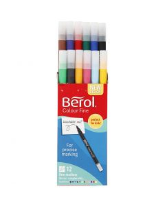 Berol Colourfine, dia. 10 mm, strek 0,3-0,7 mm, ass. farger, 12 stk./ 1 pk.