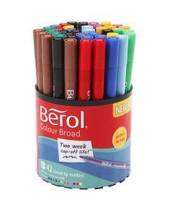 Berol Colourfine, dia. 10 mm, strek 0,3-0,7 mm, ass. farger, 42 stk./1 boks