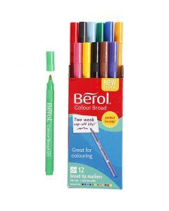 Berol tusj, dia. 10 mm, strek 1-1,7 mm, ass. farger, 12 stk./ 1 pk.