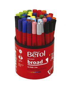 Berol tusj, dia. 10 mm, strek 1-1,7 mm, ass. farger, 42 stk./ 1 boks