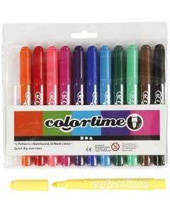 Colortime Tusj, strek 5 mm, standardfarger, 12 stk./ 1 pk.
