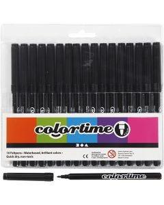 Colortime Tusj, strek 2 mm, svart, 18 stk./ 1 pk.