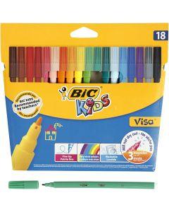 Visa Fin tusj , strek 1,6 mm, ass. farger, 18 stk./ 1 pk.