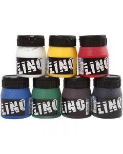 Linoleumsfarge, ass. farger, 7x250 ml/ 1 pk.
