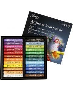 Gallery oljepastell premium, L: 7 cm, tykkelse 10 mm, ass. farger, 24 stk./ 1 pk.