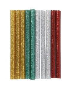 Limstenger, L: 10 cm, glitter, gull, grønn, rød, sølv, 10 stk./ 1 pk.