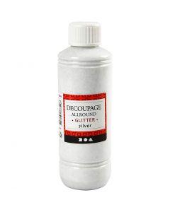Decoupagelakk, glitter, sølv, 250 ml/ 1 fl.