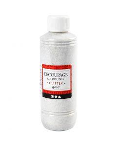 Decoupagelakk, glitter, gull, 250 ml/ 1 fl.