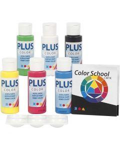 Plus Color hobbymaling, primær farger, 6x60 ml/ 1 pk.
