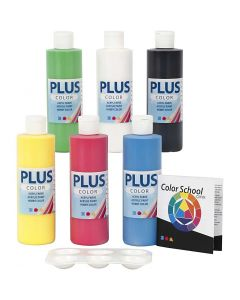 Plus Color hobbymaling, primær farger, 6x250 ml/ 1 pk.