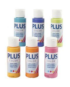 Plus Color hobbymaling, colorful, 6x60 ml/ 1 pk.