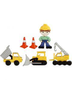 Figurknapper, byggemann, H: 14-29 mm, B: 10-30 mm, 6 stk./ 1 pk.