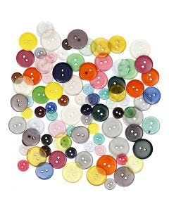 Knappe-mix, dia. 12+18+20 mm, ass. farger, 100 stk./ 1 pk., 50 g