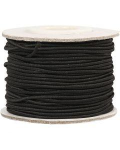 Elastikksnor, tykkelse 1 mm, svart, 25 m/ 1 rl.