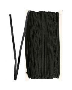 Elastikkbånd, B: 6 mm, svart, 50 m/ 1 rl.