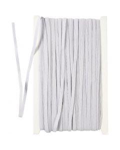 Elastikkbånd, B: 6 mm, hvit, 50 m/ 1 rl.