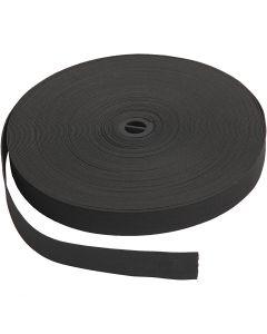 Elastikkbånd, B: 20 mm, svart, 25 m/ 1 rl.