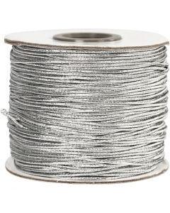 Elastikksnor, tykkelse 1 mm, sølv, 100 m/ 1 rl.