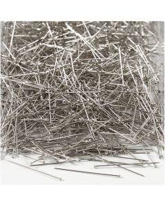 Knappenåler, L: 30 mm, tykkelse 0,55 mm, sølv, 500 g/ 1 pk.