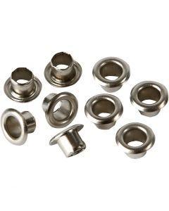 Snøreringer, H: 4,5 mm, dia. 7,5 mm, hullstr. 4 mm, sølv, 100 stk./ 1 pk.