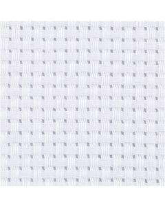 Aidastoff, str. 50x50 cm, 35 ruter pr. 10 cm  , hvit, 1 stk.