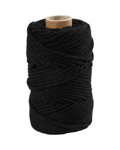 Macramè-rep, L: 55 m, dia. 4 mm, svart, 330 g/ 1 rl.