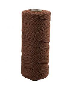Knyttegarn, L: 315 m, tykkelse 1 mm, Tynn kvalitet 12/12, brun, 220 g/ 1 nst.