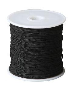 Knyttesnor, tykkelse 1 mm, svart, 50 m/ 1 rl.