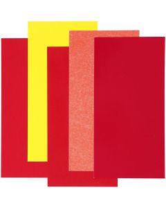 Color Dekor, rød/orange/gul harmoni, 5 ass. ark/1 pk.
