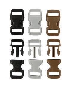 Klikklås, L: 29 mm, B: 15 mm, hullstr. 3x11 mm, svart, brun, grå, 100 stk./ 1 pk.