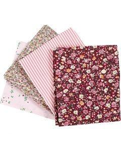 Patchwork stoff, str. 45x55 cm, 100 g, rosa, 4 stk./ 1 bunt