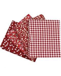 Patchwork stoff, str. 45x55 cm, 100 g, rød, 4 stk./ 1 bunt
