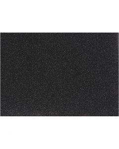 Strykestoff, 148x210 mm, glitter, svart, 1 ark