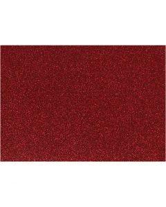 Strykestoff, 148x210 mm, glitter, rød, 1 ark