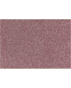 Strykestoff, 148x210 mm, glitter, lys rød, 1 ark