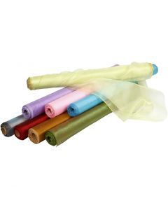 Organzastoff, B: 50 cm, blank, ass. farger, 10 m/ 1 rl.