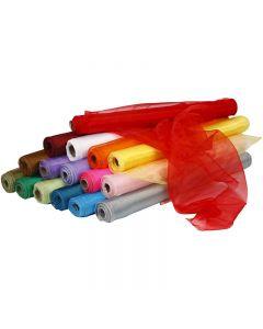 Organzastoff, B: 50 cm, ass. farger, 16x6 rl./ 1 pk.