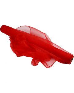 Organzastoff, B: 50 cm, rød, 10 m/ 1 rl.