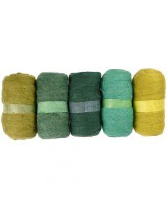 Kardet ull, grønn glitter, 5x100 g/ 1 pk.
