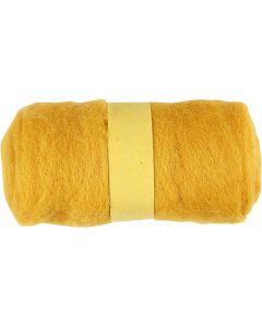 Kardet ull, gul, 100 g/ 1 bunt