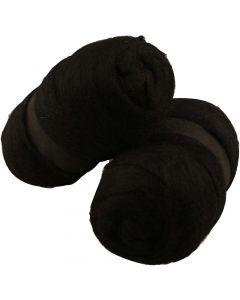 Kardet ull, svart, 2x100 g/ 1 pk.