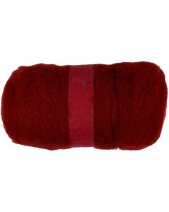 Kardet ull, varm rød, 100 g/ 1 bunt