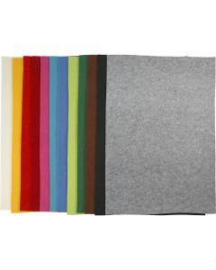 Hobbyfilt, 42x60 cm, tykkelse 3 mm, ass. farger, 12 ass. ark/ 1 pk.