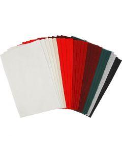 Hobbyfilt, 20x30 cm, tykkelse 1,5 mm, 180-200 g, ass. farger, 24 ass. ark/ 1 pk.