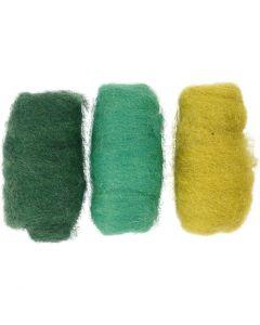 Kardet ull, grønn/råhvit, 3x10 g/ 1 pk.