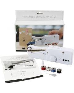 Håndholdt symaskin, H: 6,7 cm, L: 20,5 cm, B: 3,5 cm, hvit, 1 stk.