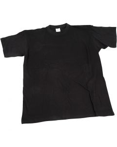T-shirt, B: 40 cm, str. 7-8 år, rund hals, svart, 1 stk.