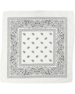 Hårbandsbandana, str. 55x55 cm, hvit, 1 stk.